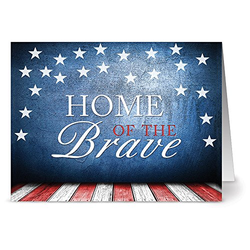 Note Card Cafe Patriotic Greeting Cards Set with Red Envelopes   24 Pack   Blank Inside, Glossy Cover   Home of The Brave   for July Fourth, Christmas, Holidays, Birthdays, Thank Yous, Ceremonies