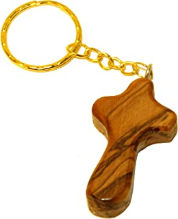 Olive Wood Comfort Holding Cross Key Chain - Cross is about 2 inches long