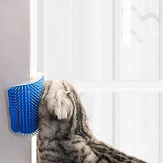 STARROAD-TIM cat self Groomer with cathip Cat Self Grooming Corner Wall Brush Dog Cat Corner Groomer,Wall Corner Massage Comb Grooming Brush (Blue)