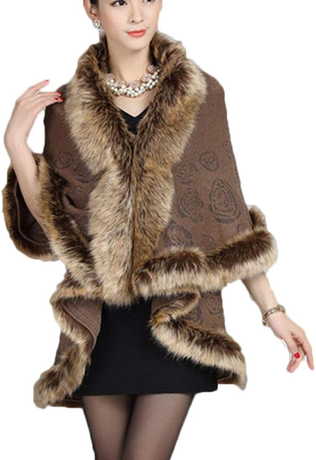 Autumn and Winter Fashion Women's Clothing Shawl Coat Knit Cloak Cardigan Red (color   Brown, Size   OneSize)