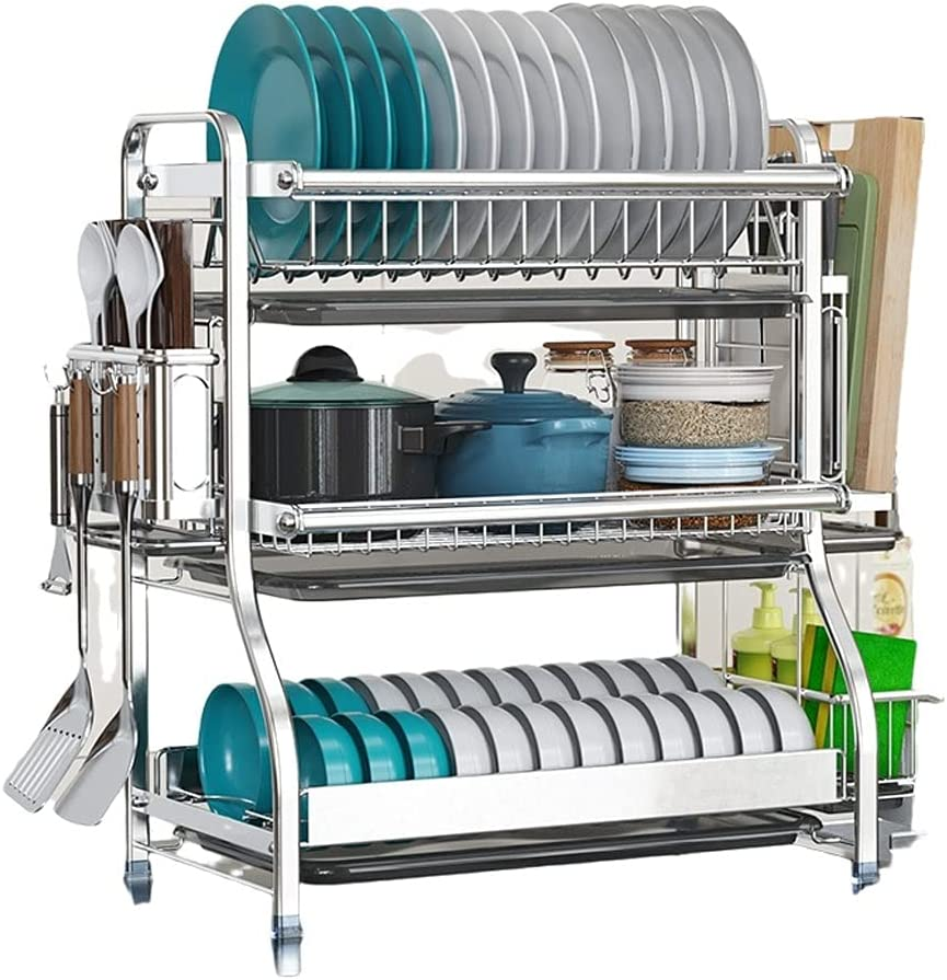 High material Dish Drying Rack wholesale Not-Rust Tier 2 wit