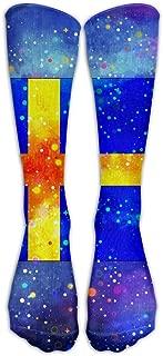 FUNINDIY Sweden Starry Flag Compression Socks Soccer Socks High Socks Long Socks for Running,Medical,Athletic,Edema,Diabetic,Varicose Veins,Travel,Pregnancy,Shin Splints,Nursing.