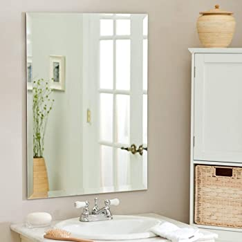Quality Glass Premium Glass Frameless Decorative Mirror for Wall Bathrooms Home (Silver, 18 X 24 Inches)