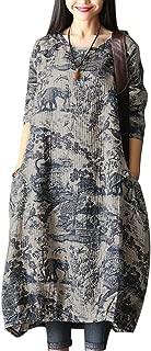 Women's Long Sleeve Dress Fashion Random Print Loose Tunics Tops with Pockets