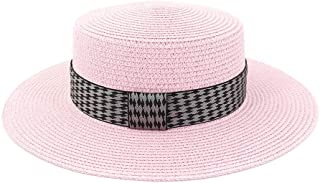 Outdoor Seaside Sunscreen Tartan Plaid Fabric Decoration Big Sunhat Women's Straw Beach Sun Hat Wide Brim Flat-top Hat (Color : Pink, Size : 56-58CM)