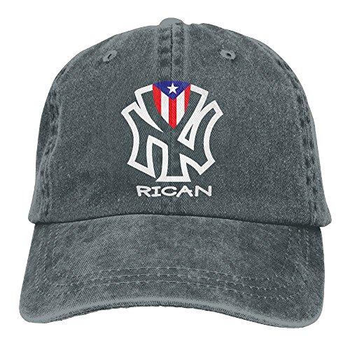 YISHOW RZM YLY's Puerto Rico Flags Rican Unisex Adult Vintage Washed Denim Adjustable Baseball Cap, Black, Black