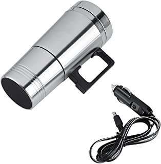 Car Heating Cup, 12V/24V 300ml Car Electric Coffee Tea Water Mugs Heater Stainless Steel Travel Thermos Bottle(12V)
