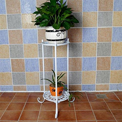FZN Simple Fleur en métal Racks intérieur et extérieur Salon Balcon Décoration 2 étagères Flower Flower Table Racks Pots de Fleurs (Couleur : Blanc, Taille : Height 70cm)