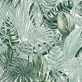 Papier peint feuille de palmier | Papier peint vert foncé 36820-1 | Papier peint jungle intissé | Papier peint vinyle salle de bain & salon