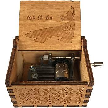 VIMOER Mini caja de música de madera con manivela, regalo de ...