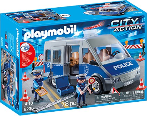 Playmobil Fourgon de policiers avec matériel de Barrage, 9236