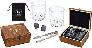 WOMA 8 Whisky Steine mit 2 Whiskey Gläsern, Zange & Holz Geschenkbox - Whiskey Steine Geschenkset aus natürlichem Basalt - Eiswürfel Wiederverwendbar