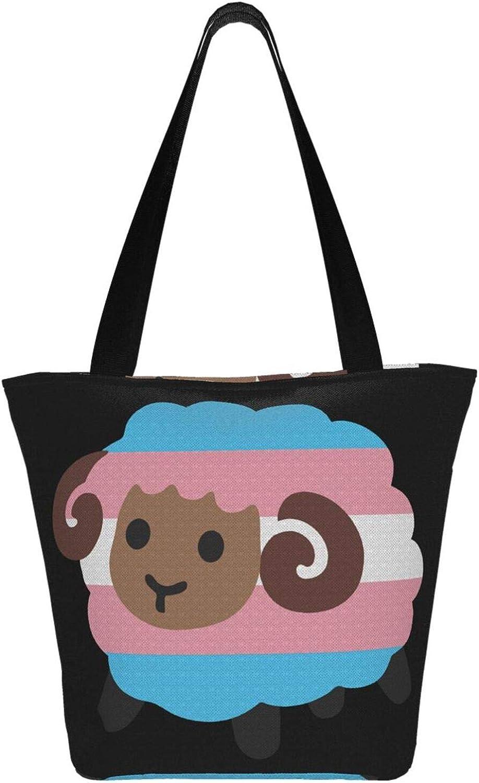 Transgender Trans Blue Pink White Sheep Themed Printed Women Canvas Handbag Zipper Shoulder Bag Work Booksbag Tote Purse Leisure Hobo Bag For Shopping