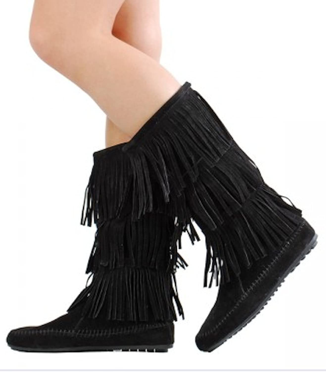 pinkgirl Women's Faux Suede Moccasin Fringe Mid Calf Boots in Black, Camel, Grey, Beige (6, Black)