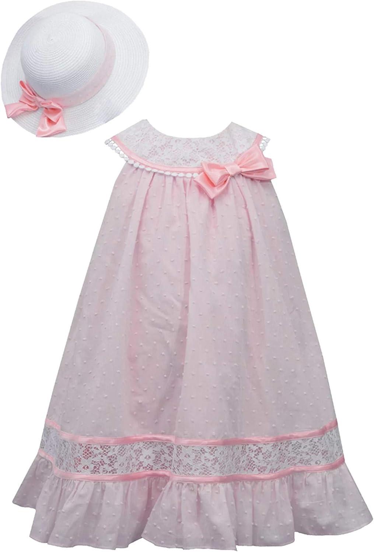 Bonnie Jean Girls Size 2T-6X Clip Dot Trapeze Satin Lace Dress Hat Set
