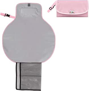 Zooawa Baby Portable Diaper Changing Pad, Lightweight Waterproof Travel Diaper Clutch, Diaper Changing Mat Station with Mesh Pockets and Padded Head Rest, Pink