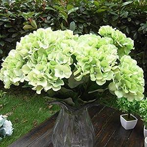 Tia-Ve Ramo de flores de seda de 7 cabezas, hortensias artificiales, decoración para el hogar, boda, color verde
