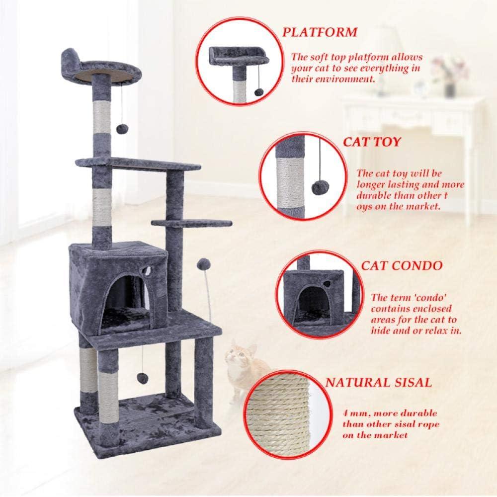 Muebles Rascadores para Gatos MYTYJ Centro De Actividades De Torre De /Árbol para Gatos Grande Poste Rascador para Gatos De Juguete para Gatos para Jugar Y Descansar/L Beige