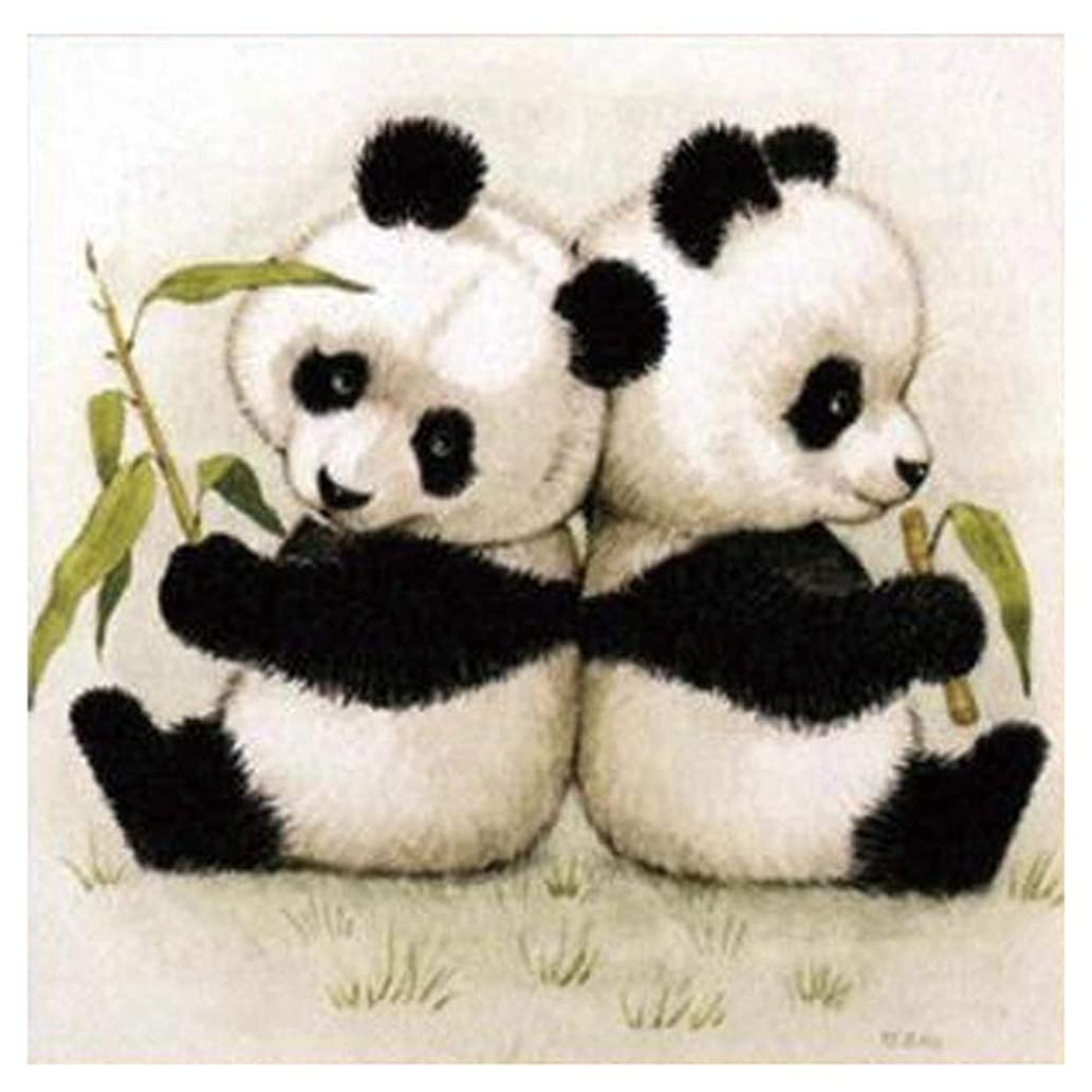 TINMI ARTS 5D Diamond Painting Panda Twins Full Square Kits for Adults DIY Mosaic Cross Stitch Pattern Handmade Embroidery Picture Kits Wall Décor[12