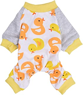 Scheppend Lightweight Dog Pajamas Cotton Pet Body Suit Soft Jammies 4 Legged Dog pjs Cute Puppy Onesie Cozy Cat Jumpsuit | Duck