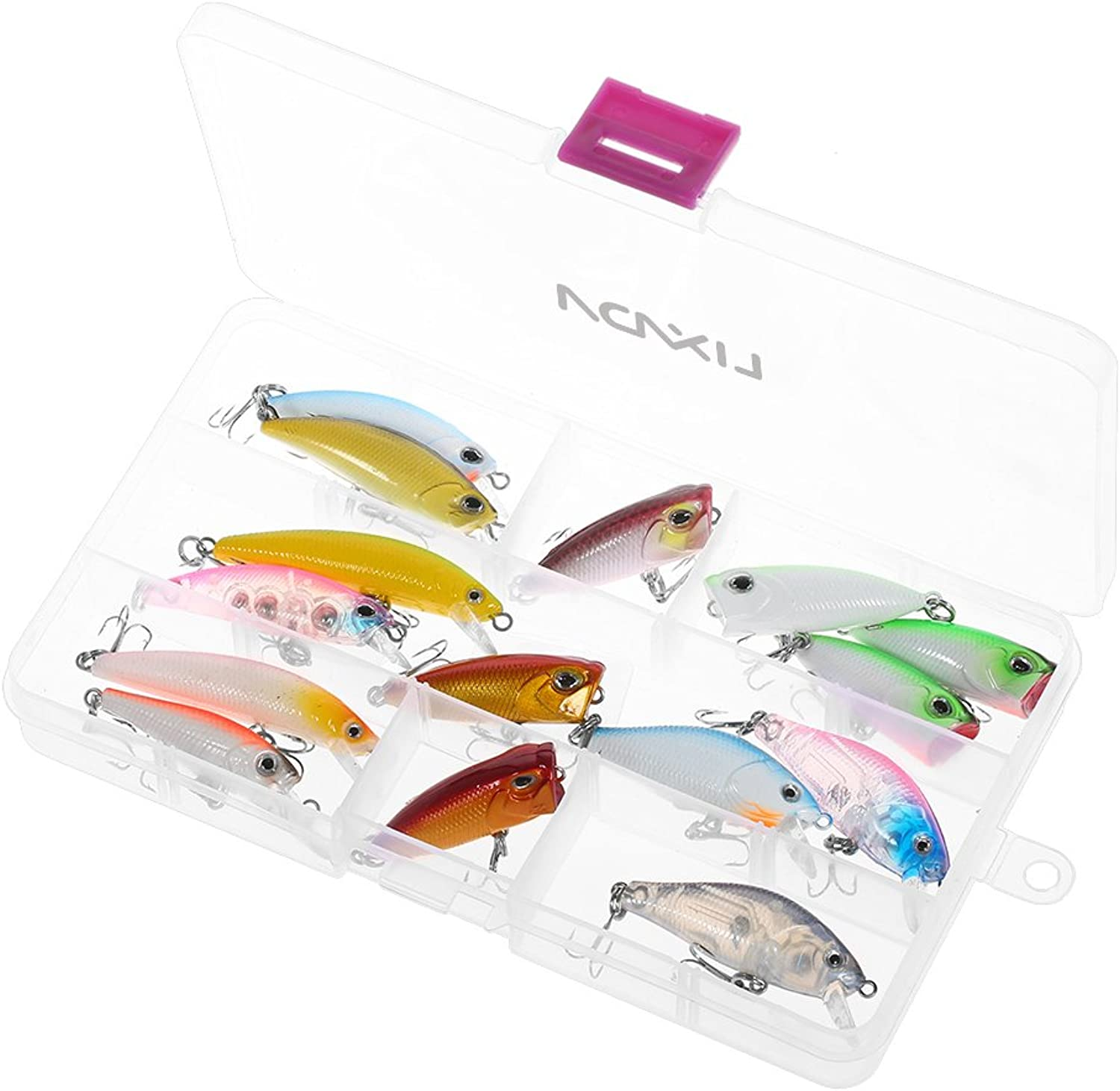 Generic Lixada 16 PCS Fishing Lure Set Minnow Hard Lure 3D Simulation Bait VIB Bait Popper Crank Bait Treble Hook Builtin Beads Y6572