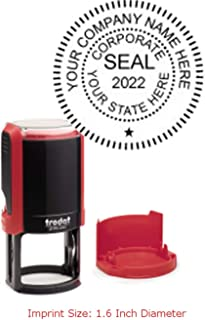 Trodat Printy Stamp Seal for a Corporation with Self Inking Function, 1.6 x 1.6 Inches, Flame Red, 1 Count (4642)
