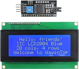 WayinTop 20x4 2004 LCD Display Module with IIC/I2C/TWI Serial Interface Adapter for Arduino Uno R3 Mega 2560 (Blue/2004)