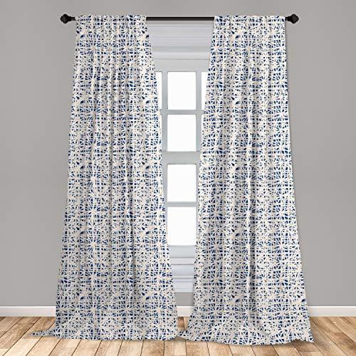 "Ambesonne Ethnic Curtains, Watercolor Style Hand Drawn Grid Pattern Hippie Folk Batik Design, Window Treatments 2 Panel Set for Living Room Bedroom Decor, 56"" x 84"", Azure Blue"