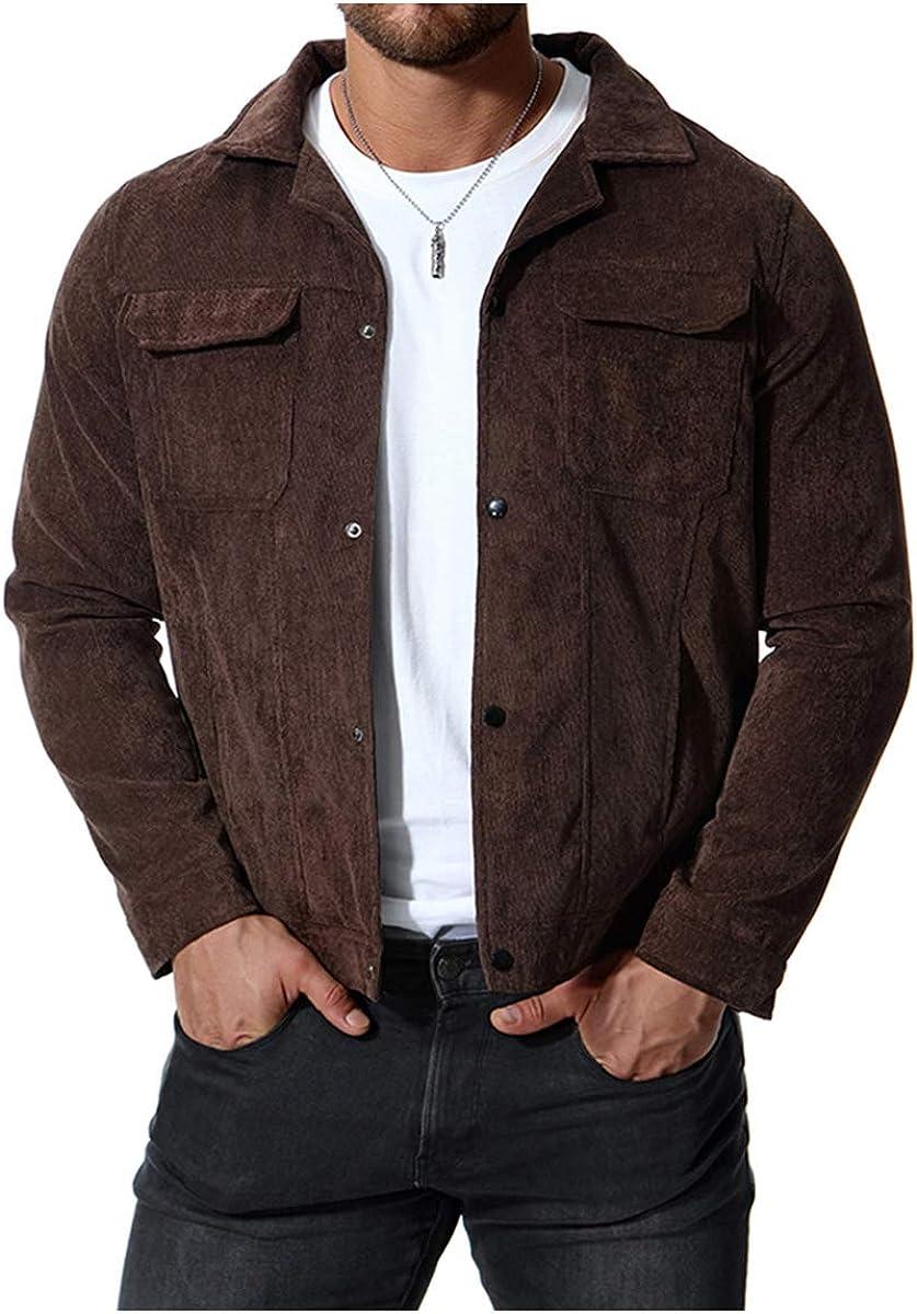 Men's Corduroy Jacket Casual Loose Pocket Lapel Autumn Long Sleeve Jacket Coat