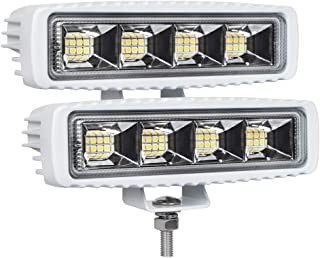 EXZEIT Waterproof Led Boat Lights,  2 pc 72W Waterproof Tested Deck/Dock Marine Lights 4000LMS 120°Flood Light,  6.3inch,  12/24 V Led Light Bar