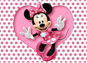 Baby Shower Backdrop Minnie Mouse for Girl 7x5ft White Background Pink Dot with Dancing Minnie Backdrops for Birthday Photography Customized Photographic Backgrounds Kids
