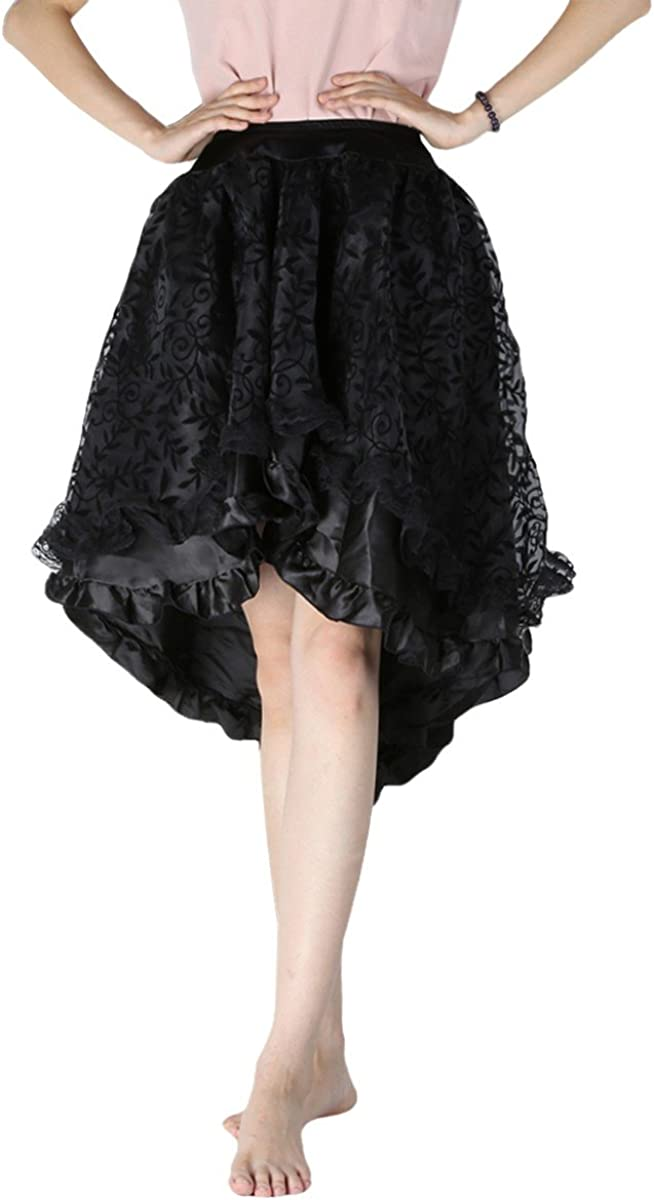Samtree Women's Vintage Gothic Steampunk Victorian Hi-Lo Lace Skirt