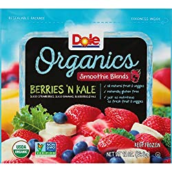 DOLE Frozen Organics Smoothie Blends, Berries and Kale, 12 Ounce Bag