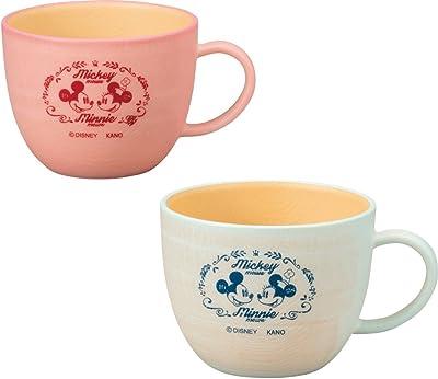 カノー マグカップ ピンク/ブルー 380ml ミッキー&ミニー 2色入