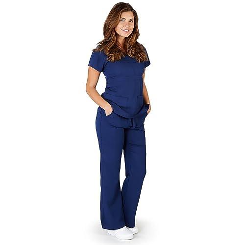 811fc1d1479 Ultrasoft Premium Mock Wrap Medical Nursing Scrubs Set for Women - Junior  FIT