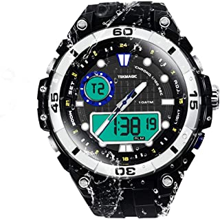 TEKMAGIC 100m Water Resistant Underwater Scuba Watch Submersible Stopwatch with Alarm, Support Dual Time Zone Display, Analog and Digital Movements, 12/24 Hours Format