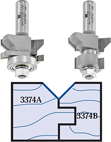 wholesale Whiteside Router Bits 3374 Vee wholesale Panel Tongue Groove Set with popular 1-3/4-Inch Large Diameter and 5/8-Inch to 7/8-Inch Cutting Length outlet online sale