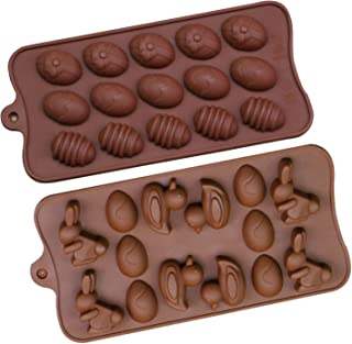 Easter Egg Shape Rabbit Duck 2Pack Silicone Chocolate Candles Cake Baking Mold Ice Cubes Tray Bakeware for Easter