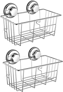SANNO Two Suction Shower Caddies, Deep Basket Shelf with Suction Cups,Bath Organizer Kitchen Storage Basket for Gel Holder Bathroom Storage Shampoo, Conditioner -2 Pack