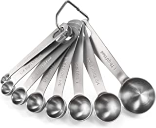 Measuring Spoons: U-Taste 18/8 Stainless Steel Measuring Spoons Set of 8 Piece: 1/8 tsp, 1/4 tsp, 1/3 tsp, 1/2 tsp, 3/4 tsp, 1 tsp, 1/2 tbsp & 1 tbsp Dry and Liquid Ingredients