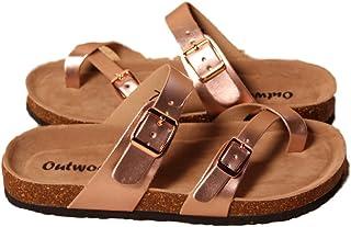 2fed4d3e608f Outwoods Women s Bork-30 Vegan Leather Slide On Toe Loop Sandals