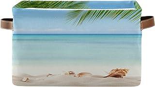 ALarge Panier de rangement tropical de plage, palmier, étoile de mer, panier à linge pliable pour jouets, sac cube avec po...