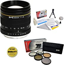 Opteka 85mm f/1.8 Manual Focus Aspherical Telephoto Lens w/Filters for Canon EOS 80D, 77D, 70D, 60D, 60Da, 50D, 7D, 6D, 5D, 5DS, 1DS, T7i, T7s, T7, T6s, T6i, T6, T5i, T5, SL2 & SL1 Digital SLR Camera