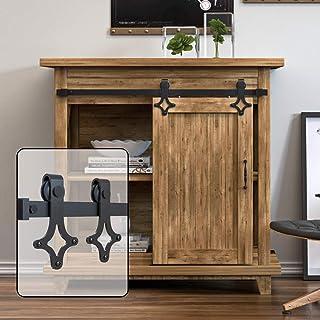 WINSOON 5FT Super Mini Sliding Barn Door Cabinet Hardware Kit for Single Door TV Stands Small Wardrobe Cabinets, Rhombus S...