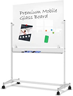 ZHIDIAN Magnetic Glass Dry Erase Board with Stand - 48 x 36 inches - Mobile Ultra White Glass Whiteboard