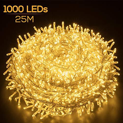 Lichterkette außen warmweiß 1000 LEDs, Elegear 25M strombetrieb Deko,8 Modi LED Weihnachtsbeleuchtung für Innen Außen Neujahr Weihnachten Geburtstag Feiertag Party Hotel Garten Hochzeit