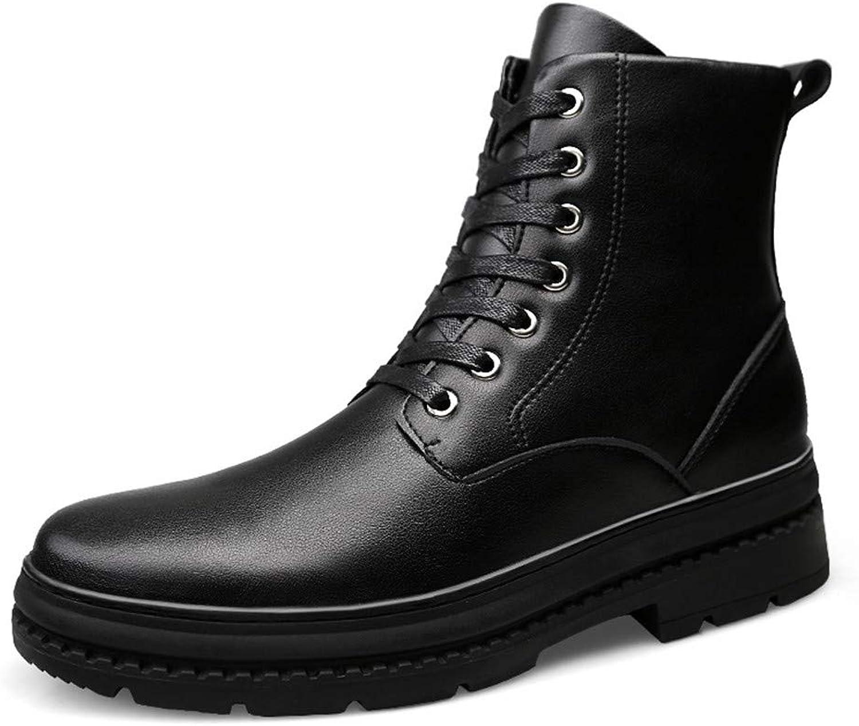 JIALUN-Schuhe Mnner Persnlichkeit Mode Stiefeletten Lssige High-Top Wasserdichte Auensohle Stiefel (Warm Samt Optional) (Farbe   Schwarz, Gre   38 EU)