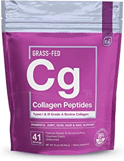 Hydrolyzed Collagen Powder - Joint, Skin, Hair, and Nail Support   Types I & III Peptides   Preservative-Free, Grass-Fed, ...