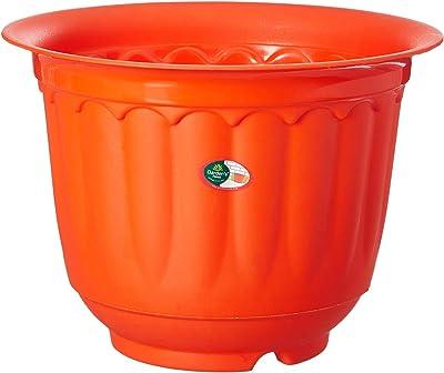 "OjOrey 100% Virgin Plastic Jasmine 8"" Pot with Drip Tray | Set of 4 Planter, (21cm x 21cm x 15cm, Orange)"