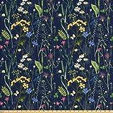 Lunarable Paint Fabric The Yard, Botanical Beauty Floral Garden Daisy Magnolia Peony Lily